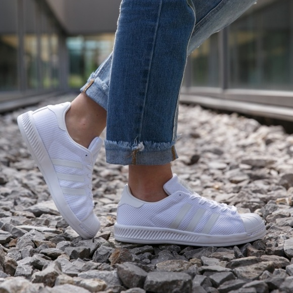 New Adidas Superstar Bounce J Pure White NWT
